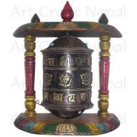 Quality Ritual Objects Metal Prayer's Wheel with Wooden Stand for sale