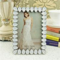 Quality Metal photo frame/teardrop crystals photo frame for sale