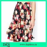 Quality women fashion midi skirts in chiffon floral rose prints for sale
