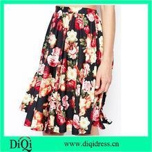 Buy women fashion midi skirts in chiffon floral rose prints at wholesale prices
