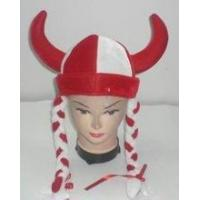 Quality Novelty velour ox horn hat with red / white braids for sale