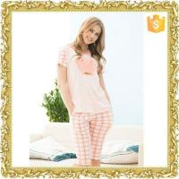 100% cotton long sleeve pajamas for lady with button