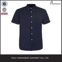 Quality Navy And Black Oxford Short Sleeve Casual Shirt for sale