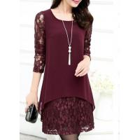Quality Dresses 2017 Round Neck Wine Red Lace Panel Dress for sale