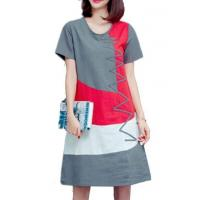 Quality New Arrival Dresses Short Sleeve Patchwork Grey Round Neck Dress for sale