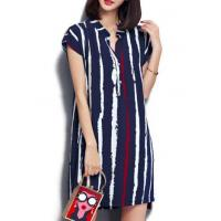 Quality New Arrival Dresses Cap Sleeve Vertical Stripe Navy Blue Tunic Dress for sale