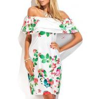 Quality New Arrival Dresses Printed White Ruffle Overlay Off the Shoulder Dress for sale