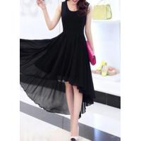 Quality New Arrival Dresses Black High Low Sleeveless Chiffon Dress for sale
