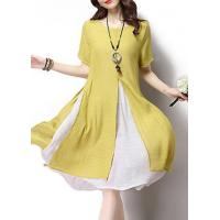 Quality New Arrival Dresses Yellow Short Sleeve Layered Faux Two Piece Dress for sale