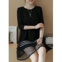 Quality New Arrival Dresses Black Lace Panel Long Sleeve Tunic Dress for sale
