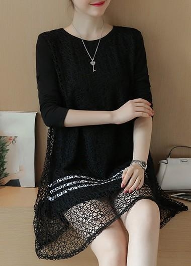 Buy New Arrival Dresses Black Lace Panel Long Sleeve Tunic Dress at wholesale prices