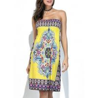 Quality New Arrival Dresses Dashiki Print Elastic Bust Strapless Yellow Dress for sale
