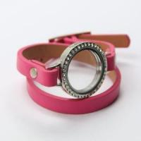 Buy cheap Pink Genuine Leather Wrap Bracelet With Alloy Floating Locket from wholesalers
