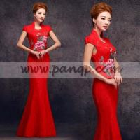 Quality Floral embroidered stand up TangZhuang collar red lace wedding dress for sale