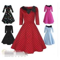 Quality Vintage Dress 1950s 1960s Party Red Black Polka Dot Sleeve Collar Size UK 6-26 for sale
