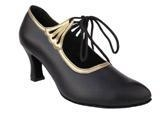 Buy S9151 Black Leather & Gold Trim Ballroom Salsa Dance Shoe at wholesale prices