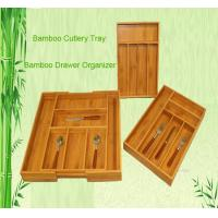 Quality bamboo cutlery tray drawer organizer tableware box for sale