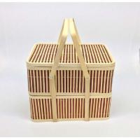 Quality Bamboo Box Portable Double-layer Rectangular Bamboo Box for sale