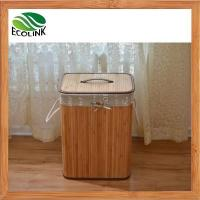 Foldable Bamboo Laundry Basket Hamper with Lid and Liner
