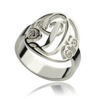 Quality Personalized Rings Monogram Initial Sterling Silver for sale