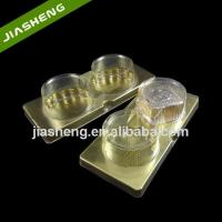 Quality Customized Golden Plastic Cake Dessert Tray with Lid for Retail for sale