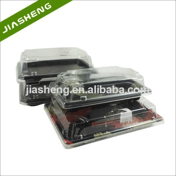 Buy Plastic Japanese Pattern Printed SUSHI Take-away Trays with Clear Snap Closed Dome Lids at wholesale prices