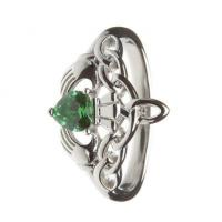 Quality Sterling Silver Ladies Green CZ Claddagh Ring 14.6mm for sale
