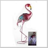 Fashionable Flamingo Metal Stake with Solar Powered Light LED Garden Decoration