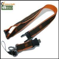 Quality USB Woven-logo Satin Lanyards with Reflective String on Both Edges for sale