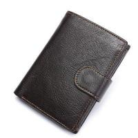 Itslife Men's Genuine Leather Wallet Retro Cowhide Hasp Trifold Vintage Card Holder