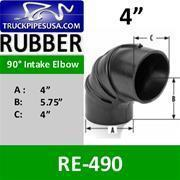 Buy cheap ALL 4'' PIPE TYPES 4'' 90 Degree Air Intake Rubber Elbow RE-490 from wholesalers