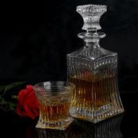 vintage cut glass wine decanter with stopper and whiskey glasses