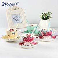 Best Cup and Saucer Four color options with inner flower decal cups saucer set wholesale