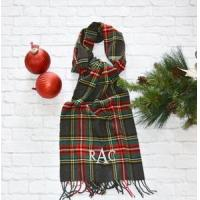 Quality Monogrammed Plaid Scarf - Charcoal Red & Green for sale