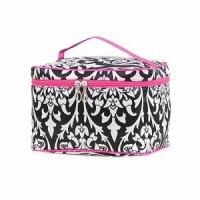 Monogrammed Damask Print Cosmetic Case