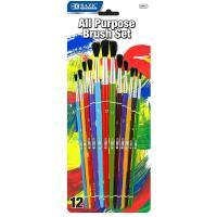 Quality Arts & Crafts BAZIC Asst. Size Paint Brush Set (12/Pack) $ 3.99 for sale