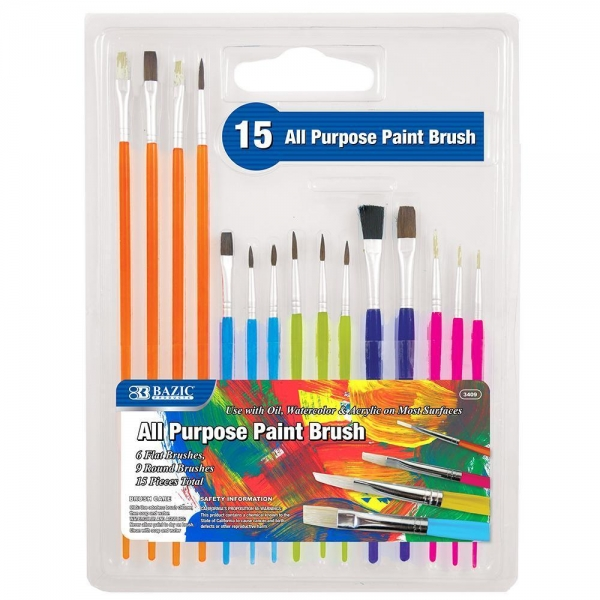 Buy Arts & Crafts BAZIC Asst. Size Paint Brush Set (15/Pack) $ 4.99 at wholesale prices