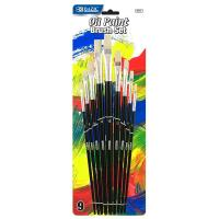 Quality Arts & Crafts BAZIC Asst. Size Oil Paint Brush Set (9/Pack) $ 3.99 for sale