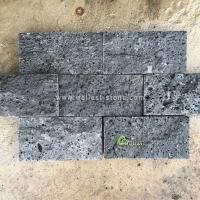 China V404 -M Black Volcanic Lava Stone Middle Hole Brick for Wall on sale
