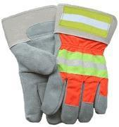 Quality Fluorescent Orange/Reflective Back Leather Palm for sale