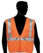 """Quality 40007 Fluorescent Orange 100% polyester mesh fabric w/ zipper front closure 2"""" wide silver for sale"""