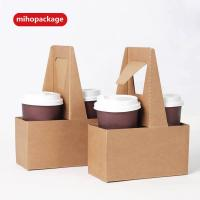 China Disposable Logo Printed Paper Coffee Cup Carrier on sale