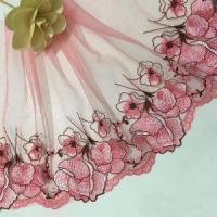 China 23cm Width DIY Accessories Polyester Colorful Voile Embroidery Lace Trim K420# on sale