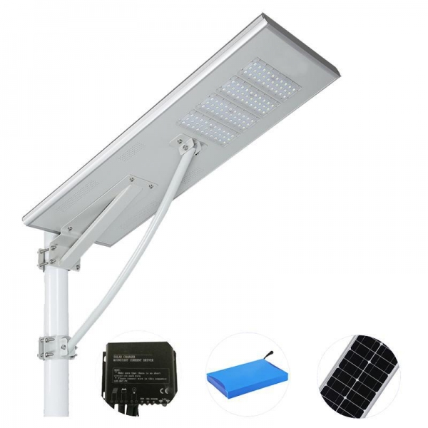 China All in one solar integrated street light with high quality LiFe P04 lithium battery