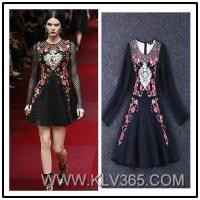 China New Fashion Design Women Long Sleeve Embroidered Party Dress Wholesale on sale