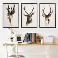 Quality Nordic 3 Panels Deer Canvas Wall Painting Art Decoration for sale