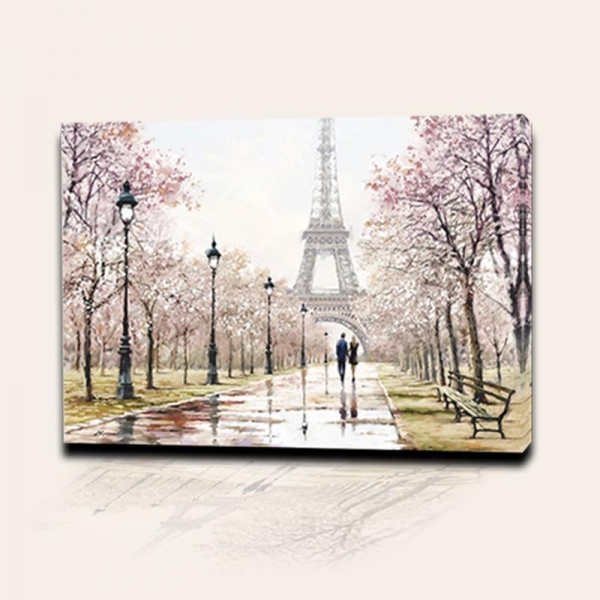 Buy Paris Love In Eiffel Tower Picture Print On Canvas Wall Painting Decoration at wholesale prices