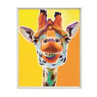 Quality Colourful Cartoon Giraffe Print Painting On Stretched Canvas for sale