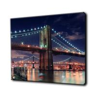 Quality Modern City Bridge Night Canvas Print Art Wall Painting With LED Light for sale