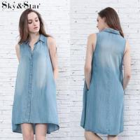 China Fashion ladies clothing custom casual sleeveless washed women denim dress on sale